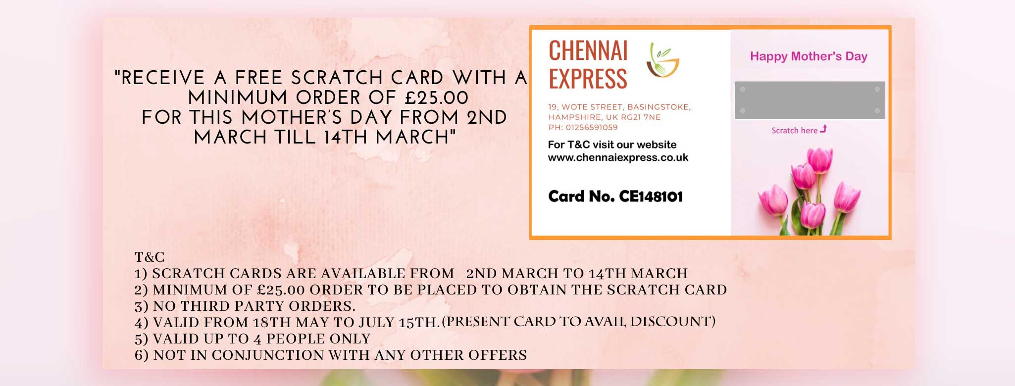 Mother's-day-Scratch-card-poster. Click here for T&C